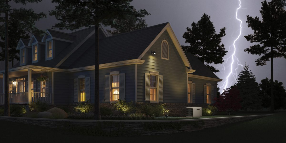 house at night with lightening in the sky